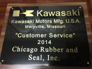 Kawasaki Customer Service award to Chicago Rubber & Seal, Inc.